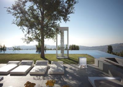 Cube 400 Lautsprecher in Beton, Lautsprecher für den Poolbereich, draußen und drinnen.