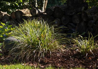 Der sichtbare Teil vom Subwoofer, ganzjährig verdeckt von winterhartem Gras.